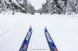 skis on corduroy by Travis Notvitsky