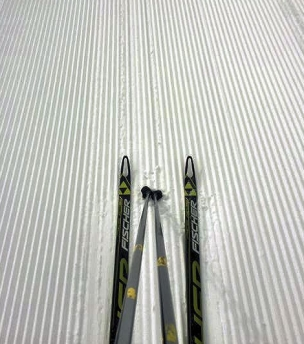 Skis on corduroy. Photo from Jim Williams.