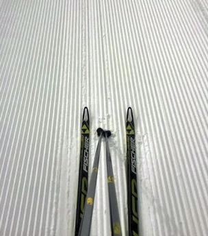 Skis on corduroy. Photo from Jim Williams.